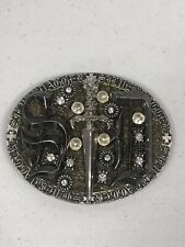 SILVER DAGGER Sword & Crystal Large buckle Bling S D  4.5 inches