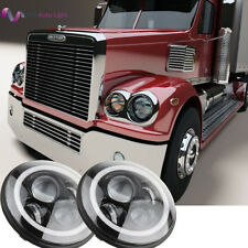 For Freightliner CORONADO LED H6024 Headlights Halo Angle Eyes Hi/Lo Headlamp