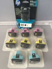 Lot of 9 Genuine HP 02 Ink Cartridges Black Light Cyan Yellow Magenta NEW SEALED