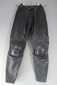 UVEX BLACK LEATHER BIKER TROUSERS + REMOVABLE KNEE PROTECTORS:WAIST 26/I LEG 31""