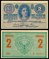 AUSTRIA / HUNGARY EMPIRE 1914  / 2 ZWEI KRONEN, KET KORONA,  P # 17 aUNC / *RARE