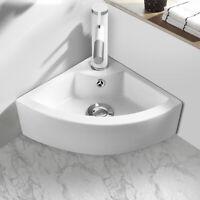 Bathroom Corner Ceramic Vessel Sink Angled Art Basin w/ Overflow & Faucet Hole