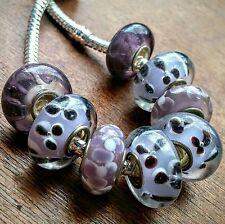 8P Color Change Purple 3D Flowers Stripe Single Core European Murano Glass Beads