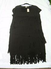 NWT CHICOS WOMENS FRINGE DRESS Short Black Size 3 Org $139