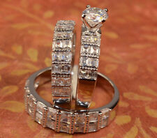 White Gold Finish Engagement Ring And Multi Wedding Bands Set His Hers L8 M 11