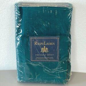 Ralph Lauren Polo King Pillowcases Green Woodlands Pima NEW SEALED Vintage K1