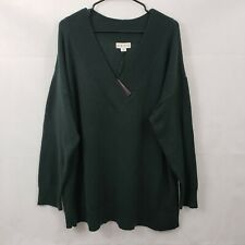 Women's Long Sleeve Pullover Sweater - Ava & Viv - Dark Green - 3X
