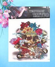 """wholesale temporary tattoo skull rose extra large 9""""x9"""" temporary tattoo"""