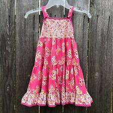 Les Filles de Provence Girl's Sun Dress Pink Floral Cotton Butterflies Size 4Y