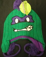 NWT Teenage Mutant Ninja Turtles Donatello Face Peruvian Pom Beanie Hat TMNT Don