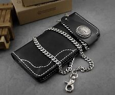 Mens Motorcycle Biker Leather Snap Close Wallet Purse With A Necklace Link Chain