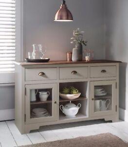 Sideboard Canterbury in Silk Grey and Dark Pine Cupboard Buffet 3 Drawer
