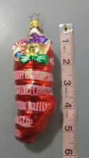 Inge Glas  Christmas Ornament Stocking Red Teddy Striped