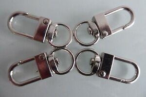 Mini Karabiner  4 Stück silberfarben Schlüsselanhänger