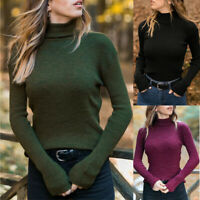 Tops Blouse Womens Winter Turtleneck Long Ribbed Casual Sleeve Knit Sweater Slim