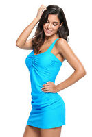 Women Sweetheart Style Solid Tankini Swimsuit with Swim Skirt Two Piece 2 PC Set
