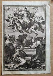 Antica incisione acquaforte con immagine sacra Assunta in celo del 700