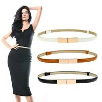 Women Fashion Waist Belt Narrow Dress Belt Thin Skinny Buckle PU Waistband nbgj