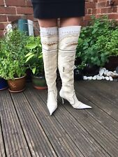 FAITH EL DANTES IVORY THIGH/OVER KNEE STILETTO POINTY BOOTS LACE & STUDS 6 £160