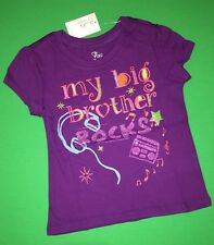 "-NEW ""My Big Brother Rocks"" Little Girls Graphic Sister Shirt 2T Sibling GIFT SS"