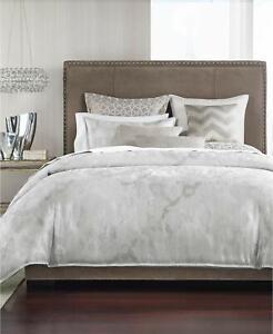 Hotel Collection QUEEN INTERLATTICE DUVET &  SHAMS Silver $535 New