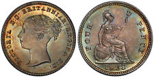 GREAT BRITAIN Victoria 1838 AR Fourpence, Groat PCGS MS66 Superbly toned.