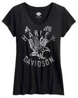 Harley-Davidson® Women's XL Slim Silver foil Eagle V-Neck shirt 99108-17VW