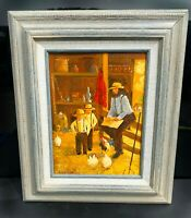 Original Oil Painting titled Out In The Barn Art By Lucien Daigneault Amish Art