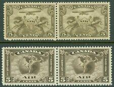 EDW1949SELL : CANADA 1928-30 Scott #C1-2 Beautiful VF MNH set of pairs. Cat $325