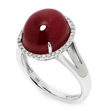 Oval Cabochon Ruby Halo Ring with Diamonds in 18kt White Gold 11.28ctw