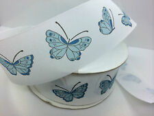 High quality Grosgrain with butterfly   Ribbon  ( 38mm) blue 1 meter