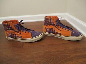 Used Worn Size 12 Vans Sk8 Hi Skateboard Shoes Orange, Purple, Sail