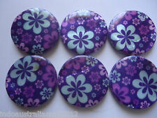 10 x Flower Printed Shell Beads  Flat Round 30mm Purple Blue Craft (R00109)