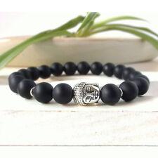 Tibetan Silver Buddha Charm Prayer Bracelet Agate Stone Beads Linen Gift Bag UK