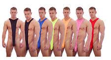 Mens Green Black Red Pink Blue Orange Bodysuit Mankini Thong Underwear Lingerie