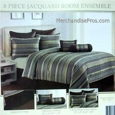 8 Pc 'Jacquard' Comforter Set With 2 Accent Pillows & Euro Shams King 101x86 New