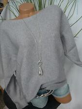 Opus Strick Pulli Pullover Damen Grau mit Silber Gr. 38 bis 44 (211)