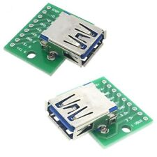 2 x USB 3 Type A Female Socket Breakout Board 2.54mm Pitch Adapter Connector DIP