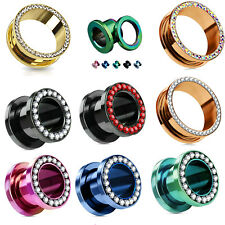 Flesh Tunnel Ohr Schraub Plug Piercing Zirkonia Kristall Screw Fit Schraubtunnel