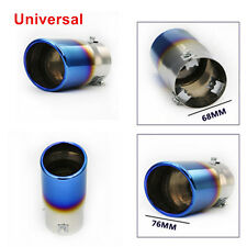 Blue Neo Chrome Stainless Steel Car SUV Rear Round Exhaust Pipe Tail Muffler Tip
