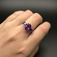 African Amethyst Natural Pear Gemstone Ring