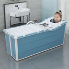 Foldable+Bath+Tub+Plastic+Bathroom+Portable+Thick+Shower+Bucket+Blue+with+Lid