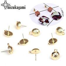 10mm 10pcs/lot Zinc Alloy Stud Earrings Gold Round Base Earrings Connectors F…
