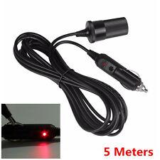 12V Car Cigarette Lighter 5M Extension Lead Cable Socket Plug Charger Power Cord