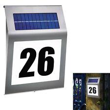 Solar Hausnummer mit LED Beleuchtung Design Edelstahl Glas Hausnummernleuchte