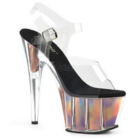 Pleaser ADORE-708HGI Women's Clear Rose Gold Hologram Inserts Ankle Strap Sandal
