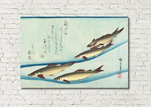 "Japanese Print Ando Hiroshige Japan Fish Kitchen Art Trout 16""x24"""