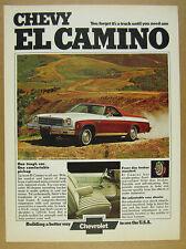 1974 Chevy El Camino Classic Conquista color photo vintage print Ad