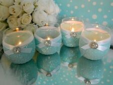 6 Candle Holders, Aqua Baby Shower, Robin Egg Blue, Baby Shower Centerpiece, Bab