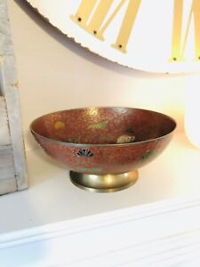"""SOLID BRASS Painted Elephants Pheasants Footed Side Bowl Dish Made In INDIA 6.5"""""""